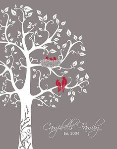 personalized family tree with love birds and babies, inspiration for a painting