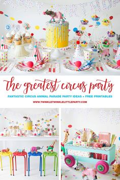 How To Throw a Fantastic Circus Animal Parade Party. Recreate these adorable circus party ideas to celebrate your little one's next birthday! Circus Theme Party, Fiesta Theme Party, Carnival Birthday Parties, Circus Birthday, Animal Birthday, Birthday Party Themes, Circus Wedding, Birthday Ideas, Party Animals