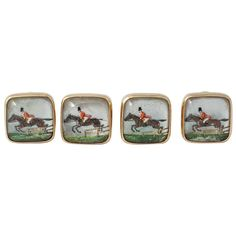 Boucheron Victorian Painted Crystal Gold Horse and Jockey Cufflinks | From a unique collection of vintage cufflinks at https://www.1stdibs.com/jewelry/cufflinks/cufflinks/