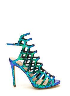 Strappy Life Holographic Heels GREEN - GoJane.com