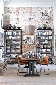 Creative and Modern Ideas: Urban Industrial Office industrial design objects.Industrial Home Furnishings. Cafe Industrial, Vintage Industrial Decor, Industrial Living, Industrial Interiors, Industrial Furniture, Industrial Bookshelf, Industrial Windows, Industrial Apartment, Loft Interiors