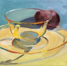 """Daily Paintworks - """"Pale Yellow Glass Cup and Plum"""" - Original Fine Art for Sale - © Robin Rosenthal"""