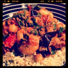 Day #81 - only 600 calories in this simple spicy supper combining paprika prawns, chilli baked aubergine, sundried tomatoes, chickpeas and spinach!