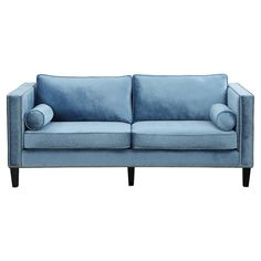 Blue velvet sofa with track arms and nailhead trim.  Product: SofaConstruction Material: Wood, velvet and polyur...