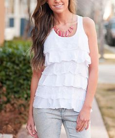 Look what I found on #zulily! White Lace Ruffle Tank by Bella Ella Boutique #zulilyfinds