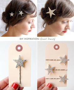 Sparkly star bobby pins | 24 Cool And Inexpensive Bobby PinDIYs