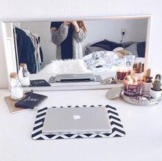 bedroom, candles, decor, dreamhouse, fashion, girl, love, macbook
