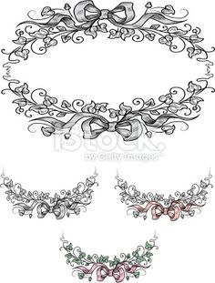 Bows & Leaves Royalty Free Stock Vector Art Illustration