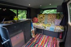 vdubvanlife:  Welcome!  Finally the time has come where were able to show off the finalised interior of our new home on wheels. Our van is rather unassuming from the outside but a full-blown colourful and cosy home on the inside. We bought the van fully-converted from Middlesex Motorcaravans in London and theyd fitted it out excellently:  Large double bed (also can seat two people with belts)  Cooker  Sink  Fridge  Ample storage  Swivel front passenger chair  LED lights (touch sensitive)…