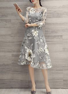 Buy Elegant Dress For Women at JustFashionNow. Online Shopping Plus Size Women Elegant A-line Printed Floral Gray Party Dress, The Best Daytime Elegant Dress. Grey Party Dresses, Baby Dresses, Midi Dresses, Formal Dresses, Elegant Dresses For Women, Ladies Dresses, Tribal Dress, Ladies Dress Design, Lady