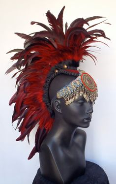 Red Feather Mohawk with Tribal Jewelry. $315.00, via Etsy. Feather Headdress, Red Feather, Feather Art, Hippie Bands, High Fashion Makeup, Burlesque Costumes, Hair Shows, Warrior Princess, Fantasy Makeup
