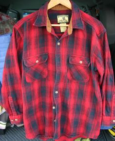 Size XL Long Field & Stream Long Sleeve CPO Men's Shadow Plaid Flannel Thick & Warm!