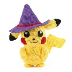 Crochet Pikachu, Pikachu Hat, Pokemon Crochet Pattern, Crochet Amigurumi Free Patterns, Free Crochet, Pikachu Halloween, Halloween Hats, Halloween Crochet, Crochet Books