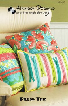 Atkinson Designs Pillow Trio Sewing Pattern (love these pretty pillows!)