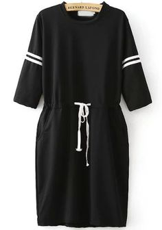 Black Half Sleeve Drawstring Loose Dress