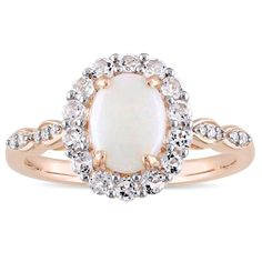 Miadora 14k Rose Gold Oval-cut Opal White Topaz and Diamond Accent Halo Engagement Ring