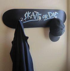 Chalkboard Coated Skateboard Coat Rack / Customizable Wall Hanging $55.00