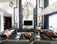 Modern Design and Living Villa Interior, Asian Interior Design, Contemporary Interior, Luxury Interior, Classic Living Room, Living Room Modern, Living Room Designs, High Ceiling Living Room, Living Room Tv