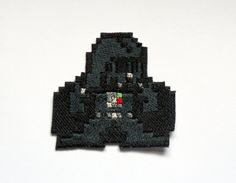 Darth Vader Patch Pixel art Star Wars - brillant métallique brodée sur tissu.