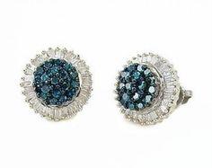 925 Silver Tri Color Diamond Earrings Blue White Yellow Diamond Studs .15ct
