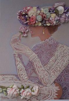 Quadro Lady3 silk ribbon embroidery Retro by SilkRibbonembroidery, €80.00