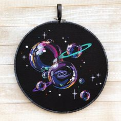embrodery Bubble Planets with bright colors and Hot Fix Crystals on a Jet Black background. *The hot fix crystals may not be in exactly the same place each time. Made on a designer fabric b Modern Embroidery, Hand Embroidery Designs, Diy Embroidery, Embroidery Stitches, Embroidery Patterns, Hungarian Embroidery, Embroidery Jewelry, Vinyl Record Art, Vinyl Art