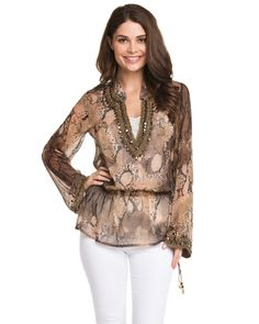 Monique Leshman Python Print Silk Embellished Tunic is on Rue. Shop it now.