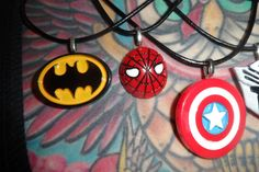 Inspired creations Batman spiderman captain by PinderellaPlugs
