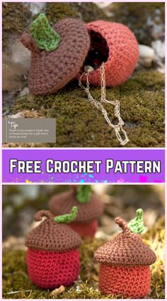 Crochet Woodsy Acorn Pots Storage Container Free Crochet Pattern