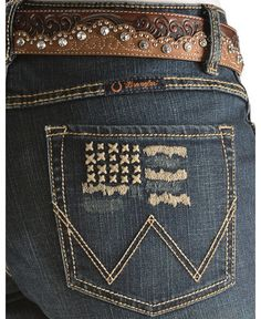 Wrangler Q-Baby Ultimate Riding American Flag Embroidered Jeans