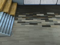 Silver Linings colorful skinny plank carpet tile collection by Interface. The perfect product to cus. Carpet Tiles, Stair Runner Carpet, Rugs On Carpet, Tile Design, Carpet Design, Hotel Carpet, Diy Carpet, Oak Hardwood Flooring, Flooring Inspiration