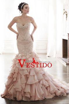 2016 vestidos de boda de la sirena del amor de la blusa moldeada del Organza del tren de la corte