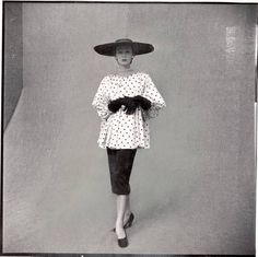 1950s Pencil Skirt with Blouson style Top and a fabulous hat