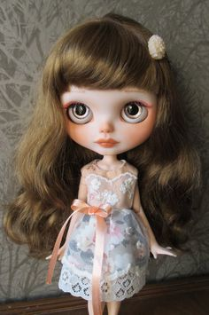 Handmade Blythe doll lace  'Peach Blossom' tea dress by Eskabelle, £26.00