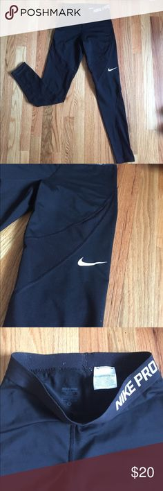 Nike pro running leggings Nike pro running leggings with mesh like around the pant! So cute but unfortunately to big on me. Very comfortable and light. Easy for your body to breathe in. Material: 80% polyester and 20% spandex. Hardly worn like new Nike Pants Leggings