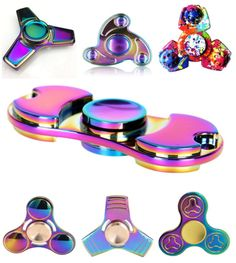 Rainbow-Stainless-Metal-Tri-Hand-Finger-Spinner-Fidget-Bearing-EDC-Desk-Toy-Gyro