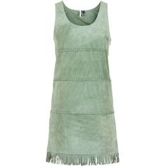 TOPSHOP Tassel Plait Suede Shift Dress (£54) ❤ liked on Polyvore featuring dresses, topshop, turquoise, green shift dress, green suede dress, green dress, no sleeve dress and braid dress