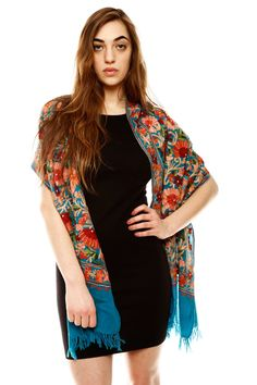 gorgeous embroidered wool shawl..I've got a terrible scarf habit.