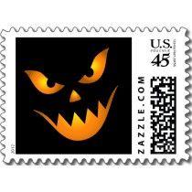 Scary Jack o lantern Halloween postage stamp