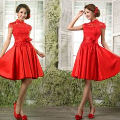 $167.20 The bride married cheongsam 2012 short design lace cheongsam chinese style vintage improved cheongsam red cheongsam dress-in Cheongsams from Apparel & Accessories on Aliexpress.com