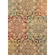 Instant style points are gained with the addition of this oversized floral patterned area rug in rich hues of red, green, brown and blue on a neutral background. Machine-woven of 100�0polypropylene this rug will offer durable comfort for years to come.