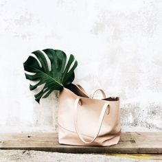 Bag: nude bag, leather bag, leather tote bag,mothers day gift idea, classy, minimalist tote bag - Wheretoget