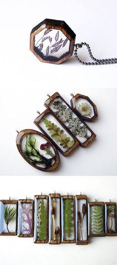 Crafts Jewelry Artist Erin LaRocque (of BuildWithWood) creates beautiful pendants by encapsulating natural treasures, found in Michigans Hiawatha National Forest, in resin and laser-cut wood frames. Diy Schmuck, Schmuck Design, Jewelry Crafts, Handmade Jewelry, Jewelry Bracelets, Pandora Bracelets, Jewelry Kpop, Diy Jewelry Set, Fandom Jewelry