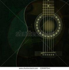 Guitar on scene with light - stock photo
