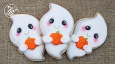 Kawaii Ghost Cookies with Sweet Sugarbelle Halloween Cutter Kit Decorated with Royal Icing Transfers - YouTube