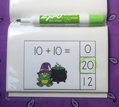 There Will Be No Toil and Trouble Learning Doubles Facts with These Clip Card Math Centers!   Put cards in a dollar store photo album and use a dry erase marker to make a write and wipe Halloween addition activity! $   #Halloween #doublesadditionfacts #doubles  #KampKIndergarten   https://www.teacherspayteachers.com/Product/Double-Double-Cauldron-Bubble-Halloween-Addition-Math-Centers-Sums-to-20-1514356
