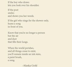 From Looking for Alaska....poem about remaining somehow