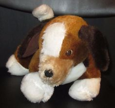 """11x8"""" 1981 Wallace Berrie Brown WHITE Tan STANDING Plush PUPPY DOG Beagle  2 #WallaceBerrie"""