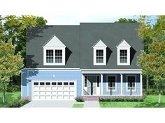 Home Plan HOMEPW77557 is a gorgeous 2340 sq ft, 2 story, 3 bedroom, 2 bathroom plan influenced by + Cape Cod style architecture.