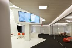 the orange 'hub' faces a bank of visually open meeting rooms, photo © daici ano